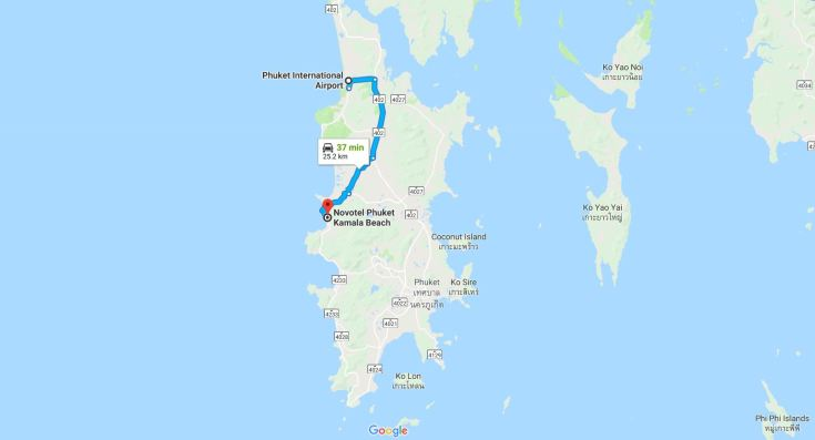Map Phuket from airport to Novotel Phuket Kamala Beach Hotel